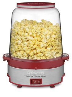 Cuisinart CPM-700 EasyPop Popcorn Maker, Red by Cuisinart. $38.24. Removable non-stick aluminum cooking plate; pops up to 16 cups of popcorn. Limited 3-Year Warranty. Removable non-stick aluminum cooking plate, pops up to 16 cups of popcorn. Popping bowl with built-in ventilation and bowl cover, motorized stirring arm for even mixing. Non-slip feet with cord storage. Popping bowl with built-in ventilation and bowl cover; motorized stirring arm for even mixing. Brushed stai...