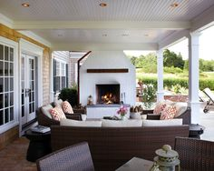 porch fireplace - patrick ahearn architect