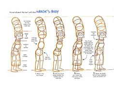 The Simpsons model sheet, Marge's body.