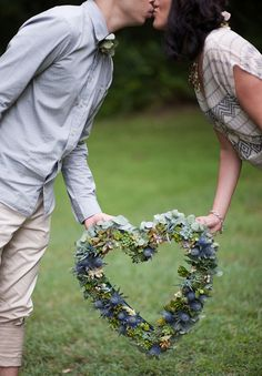 succulent seaholly billy button heart wreath