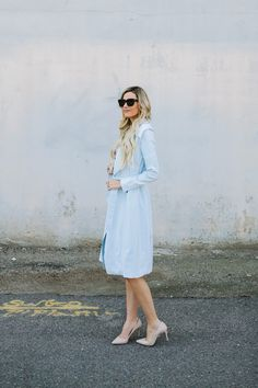 This light blue coat is perfect for springtime