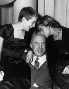 Otto Preminger with Jean Seberg & Francoise Sagan, who wrote the book the film was based on