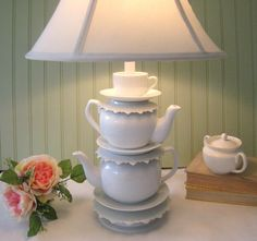 """Teapot Lamp, Two TeapotsTea Cup and Saucers, """"Alison"""" Series,  Alice in Wonderland Shabby Chic Country Beach Cottage"""
