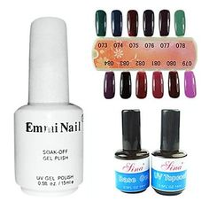 Kaifina UV Top Coat GelandBase Gel UV Color Gel 12 Assorted Color * Check this awesome product by going to the link at the image. Nail Soak, Soak Off Gel, Base Coat, Top Coat, Uv Gel, Nail Arts, Gel Polish, Decorative Accessories, My Nails