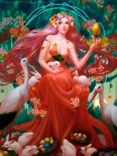 Easter Goddess - illustration by thienbao on DeviantArt Easter Goddess, Gifs, Sacred Feminine, Goddess Art, Divine Goddess, Gods And Goddesses, Deities, Faeries, Wicca