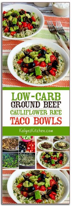 """We used frozen cauliflower rice to make these Low-Carb Ground Beef Cauliflower Rice Taco Bowls a quick and easy meal but use fresh cauliflower grated into """"rice"""" if you prefer. These tasty taco bowls are also gluten-free and South Beach Diet Phase One an Gluten Free Recipes For Dinner, Paleo Dinner, Paleo Recipes, Recipes Dinner, Dinner Menu, Low Carb Tacos, Taco Bowls, Frozen Cauliflower Rice, Cauliflower Recipes"""