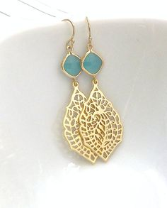 Gold Chandelier Earrings  Mint Green  Paisley by PinkTwig on Etsy