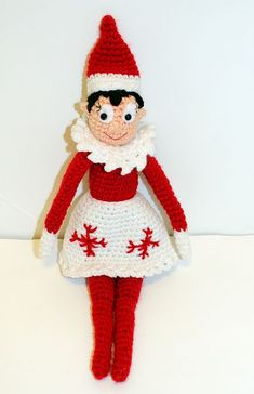 "Snowflake The Elf on the Shelf Doll 14"" tall Free Amigurumi Pattern - Click ""download"" here: http://www.ravelry.com/patterns/library/holiday-shelf-elf-crochet-doll"