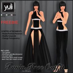 (Yuli) Tavia Free Outfit in Black (sexy dress and long pant)