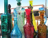 Vintage Jim Beam Liquor Bottle, Red & Gold Glass, Retro Home Decor, Bar-ware, Liquor Decanter, Sun Catchers