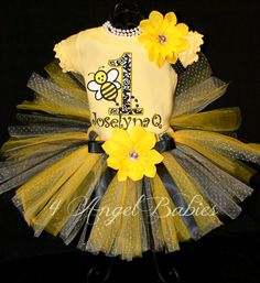 Baby Bumble Bee Black & Yellow Girls 3 Piece Birthday Tutu Outfit Personalized with hair piece, tutu, and top, shirt or onesie