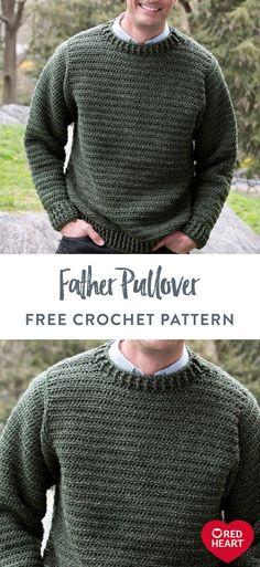 Crochet Jumper Free Pattern, Mens Knit Sweater Pattern, Jumper Patterns, Knitting Patterns, Crochet Patterns, Men Sweater, Crochet Men, Easy Crochet, Creations