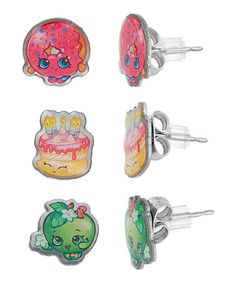 Look at this #zulilyfind! Shopkins™ Apple Blossom & Others Stud Earrings - Set of Three #zulilyfinds