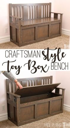 Woodworking Ideas For Girlfriend Craftsman Toy Box Bench - Her Tool Belt.Woodworking Ideas For Girlfriend Craftsman Toy Box Bench - Her Tool Belt Easy Woodworking Projects, Woodworking Furniture, Diy Wood Projects, Furniture Projects, Wood Furniture, Reclaimed Furniture, Diy Furniture Plans, Woodworking Patterns, Furniture Removal
