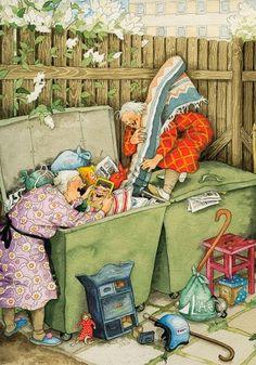 Super funny friends illustration inge look Ideas Norman Rockwell, Illustration Amis, Old Lady Humor, Image Originale, Whimsical Art, Super Funny, Funny Babies, Old Women, Belle Photo