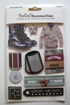 Bella Dimensional Stickers Military Soldiers Armed Forces VM307 9 Pieces