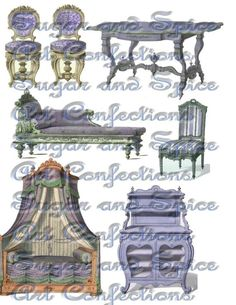 Faded Lavender French Furniture Vintage Digital by pumpkincoach, $3.25