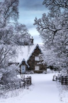 Beautiful winter scene in Kenmore, Scotland.