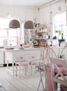 Romantic Pink and White Shabby Chic Kitchen.