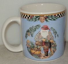 Debbie Mumm Woodland Santa Mug 1998 Sakura Garland Christmas Blue Coffee Cup  ~ This Item is for sale at LB General Store http://stores.ebay.com/LB-General-Store ~Free Domestic Shipping ~