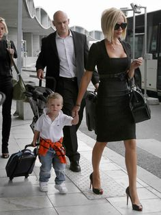 Dress in high heels when walking the airport, and then let your toddler pull his own luggage so you can hold your purse in that awesomely chic way.