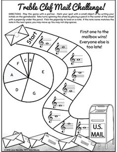 Free Treble Clef Printable Board Game for Elementary Music Class!