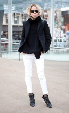 Transition from summer to fall: White jeans