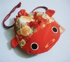 Red Gold Fish Women's Pouch Bag Traditional Japanese Chirimen Fablic | eBay