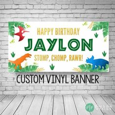This blue, orange, red, green and gold dinosaur birthday banner is perfect for a little boy, little girl or twins birthday party for your dinosaur obsessed kids birthday party. The Stomp, Chomp & Rawr Dinosaur banner makes the perfect decoration for your dino birthday party for a boy or girl. Twin Birthday Parties, Birthday Themes For Boys, Dinosaur Birthday Party, Happy Birthday Banners, Summer Birthday, 3rd Birthday, Birthday Ideas, Dinosaur Party Decorations, Dinosaur Party Supplies
