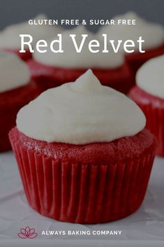 Red Velvet Pin 2 Sugar Free Baking, Sugar Free Desserts, Sugar Free Recipes, Cupcake Recipes, Sweet Recipes, Cupcake Cakes, Gluten Free Treats, Gluten Free Cakes, Red Velvet Bundt Cake