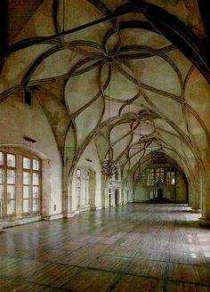 Inside of a Castle in Prague((love the arcit. & unusual floor pattern~Paula))