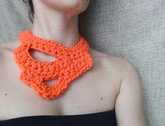 Yarn necklace, crochet necklace, bulky yarn necklace, statement jewelry, modern necklace