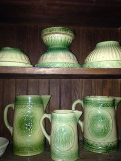 Green and cream pottery.
