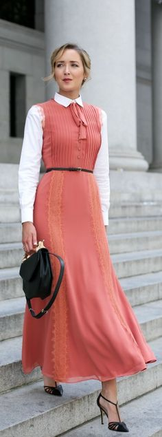 coral maxi dress with lace detailing and tie neck, crisp white collared shirt, skinny black waist belt, pointed toe t-strap heels, black handbag + updo hairstyle {tularosa, theory, sjp collection, m2malletier}