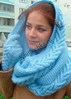 вязание шарфа-снуд
