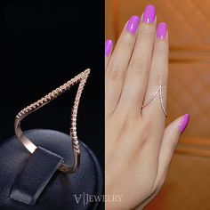 Chevron Ring Micro Pave Cubic Zirconia Ring Geometric V Ring Triangle Diamond Curved Ring Fancy Party Everyday Trendy, by AmodeJewelry on Etsy