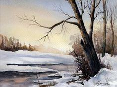 Fine art giclee print winter scene snow titled A