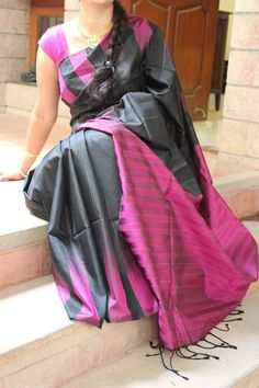 Black with deep Purple Matka Silk Saree