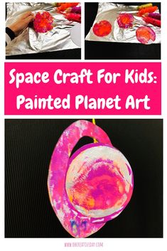 This space craft for kids uses a fun and simple printmaking technique involving aluminium foil. Attach your print to a CD and you have yourself some colourful painted planet art! Space Crafts For Kids, Creative Activities For Kids, Art For Kids, Kid Art, Cardboard Crafts, Glue Crafts, Kid Crafts, Planet Crafts, Aluminium Foil