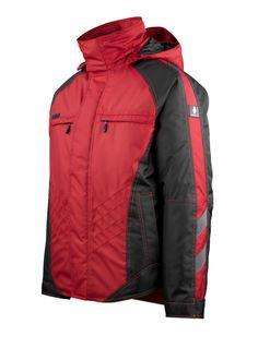 Geaca iarna rosie Mascot Frankfurt Mascot Workwear, Frankfurt, Romania, Work Wear, Raincoat, Jackets, Fashion, Outfit Work, Rain Jacket