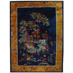 Antique Art Deco Chinese Carpet   From a unique collection of antique and modern chinese and east asian rugs at https://www.1stdibs.com/furniture/rugs-carpets/chinese-rugs/