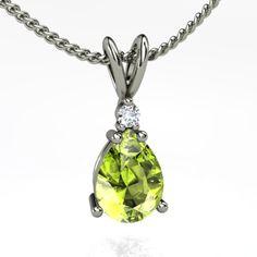 Peridot necklace with diamond. For August birthdays Peridot Jewelry, Peridot Necklace, Gemstone Jewelry, Pendant Earrings, Ring Earrings, My Birthstone, Beautiful Rocks, Fantasy Jewelry, I Love Jewelry