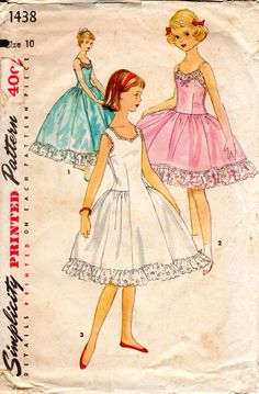 1950s Girls Slip with Gathers - Vintage Pattern Simplicity 1438 - Size 10 by ErikawithaK on Etsy