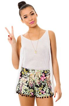 "Use code "" KB1 "" and receive 20% off of any initial Karmaloop purchase- The Tropical Pom Pom Short by Love Cat"