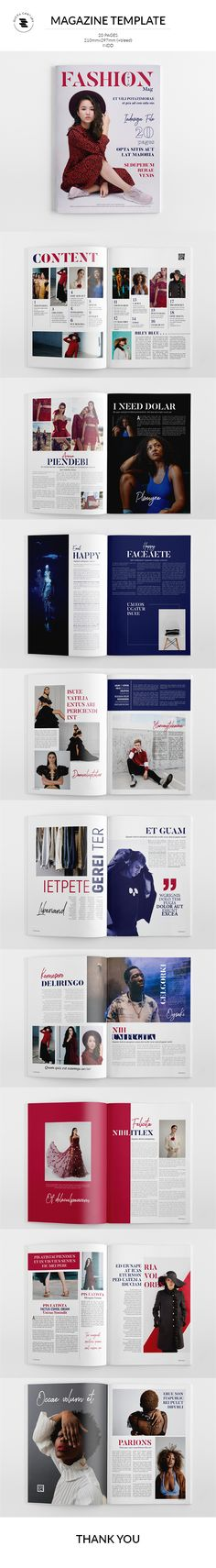Buy Fashion Magazine by on GraphicRiver. The Magazine The Magazine. This layout is suitable for any project purpose. Magazine Template, Photo Displays, Brochure Design, Branding, Lettering, Templates, Ad Fashion, Portfolio Layout, Magazine Editorial
