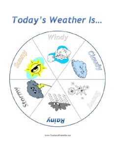 The weather wheel in this free, printable daily weather chart is great for students and children who need visual cues when reading. The pie chart has six sections, with pictures and words representing windy, cloudy, snowy, rainy, stormy and sunny from which to choose. Free to download and print