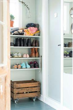 - Lilly is Love Hallway Storage, Laundry Room Storage, Dark Grey Hallway, Home Organization Hacks, Modern Rustic Interiors, Modern Kitchen Design, Entryway Decor, House Colors, New Homes