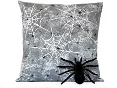 Spiderwebs Halloween Pillow Cover Cushion Spiders by PookieandJack