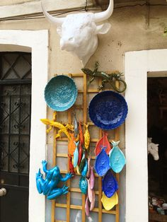 Probably the prettiest original, handmade ceramics and pottery to be found in Lisbon! Portugal, Santa Clara, Sea Salt, Wind Chimes, Stuff To Do, Pottery, Wine, Outdoor Decor, Pretty