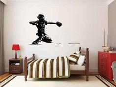 Baseball Catcher Vinyl Wall Decal Sticker Graphic. Many sizes to choose from. Made from high quality adhesive vinyl that will last indefinitely indoors and has an outdoor rating of up to 10 years. Som